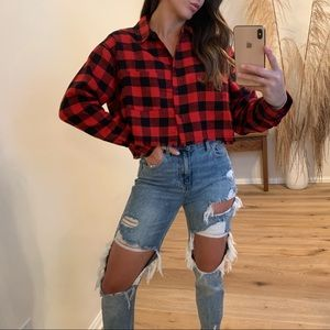 🔃Glamping Plaid Cropped Top